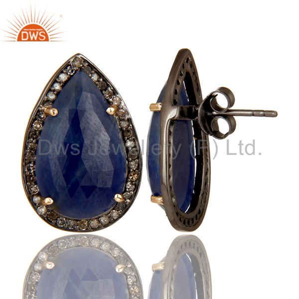 Suppliers 18K Yellow Gold Sterling Silver Blue Sapphire And Pave Diamond Drop Stud Earring