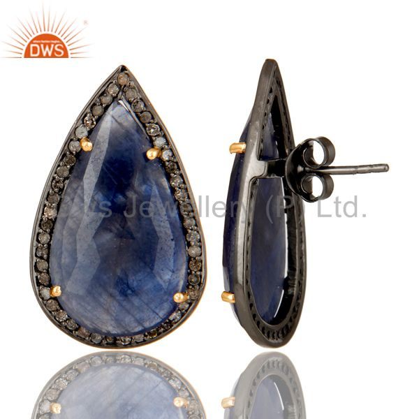 Suppliers Oxidized 14K Yellow Gold Pave Diamond And Blue Sapphire Drop Stud Earrings