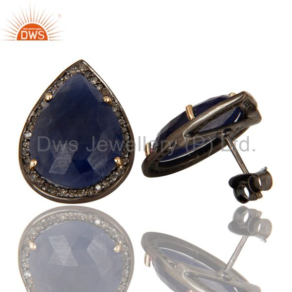 Suppliers 14K Yellow Gold Sterling Silver Blue Sapphire Stud Earrings With Pave Diamond
