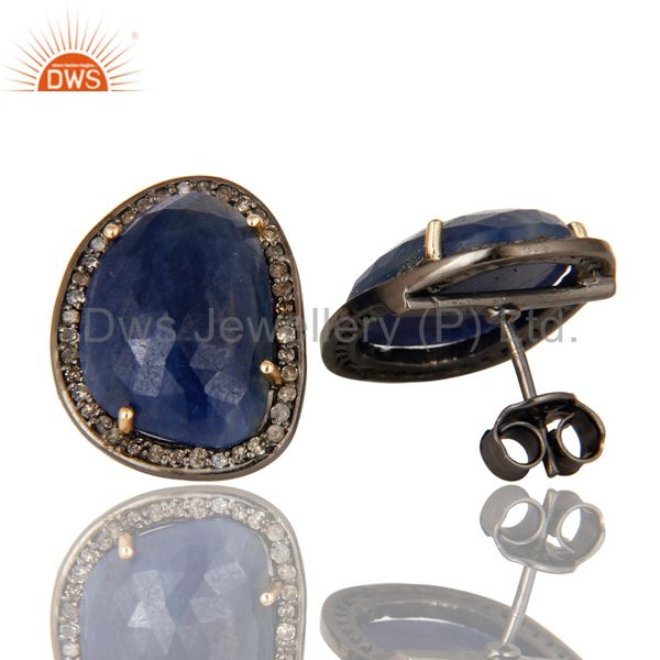 Suppliers Solid 14K Yellow Gold Sterling Silver Pave Diamond Blue Sapphire Stud Earrings