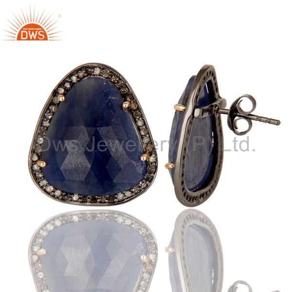 Suppliers Blue Sapphire and Pave Diamond Precious Stud Earring