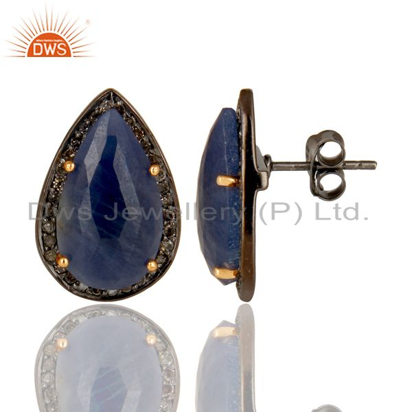 Suppliers 14K Solid Gold 925 Sterling Silver Diamond & Blue Sapphire Studs Earrings
