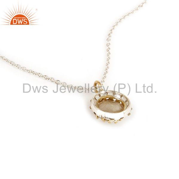 Suppliers 18K Yellow Gold And Sterling Silver Rutilated Quartz Pendant With Chain