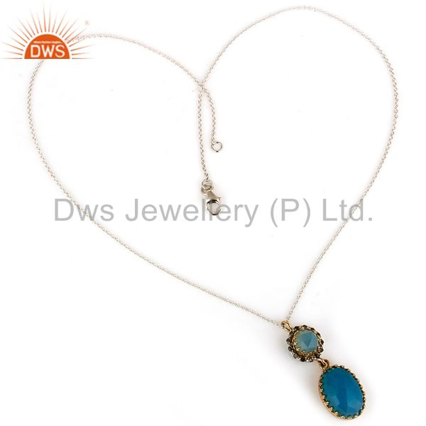 Suppliers SOlid 18K Yellow Gold Aqua Blue Chalcedony Pave Diamond Drop Pendant Necklace