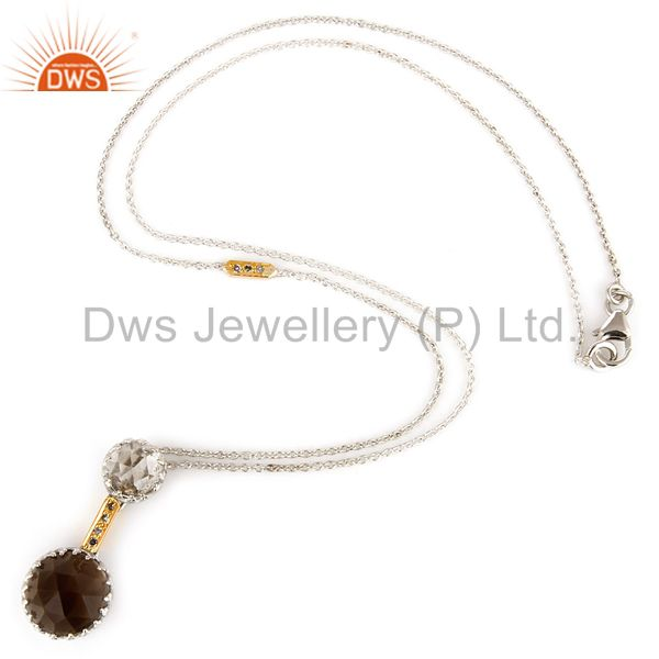 Suppliers 18K Yellow Gold Smoky Quartz And Natural Diamond Pendant With Chain