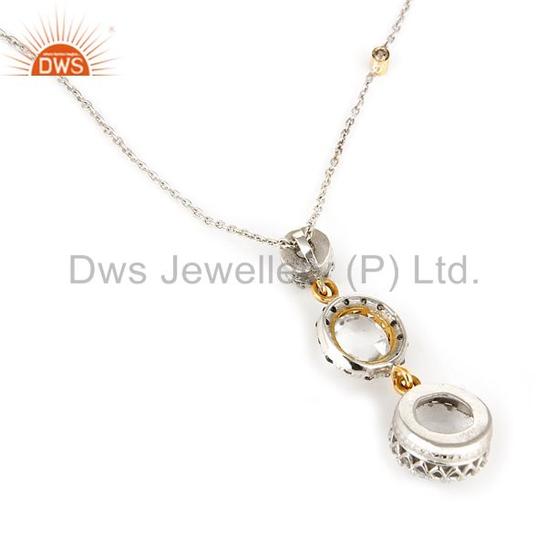Suppliers 18K Yellow Gold And Sterling Silver Crystal Quartz And Diamonds Pendant Chain
