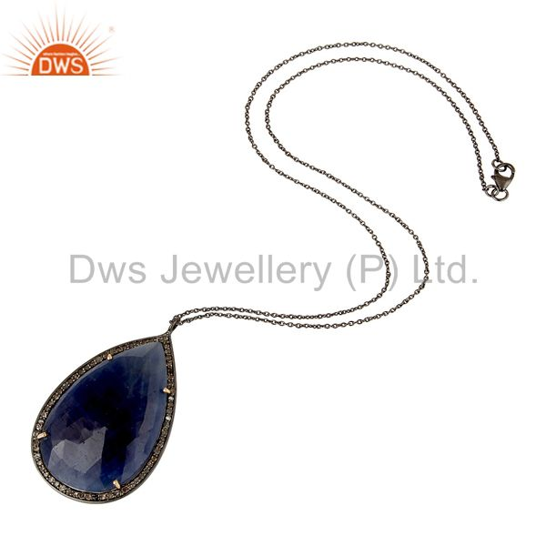 Suppliers 14K Yellow Gold Pave Diamond And Blue Sapphire Silver Pendant