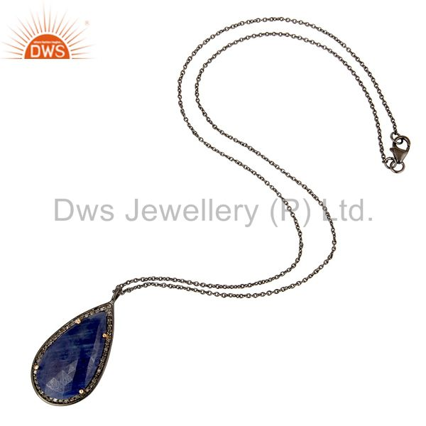 Suppliers 14K Solid Yellow Gold Pave Diamond And Blue Sapphire Silver Pendant With Chain