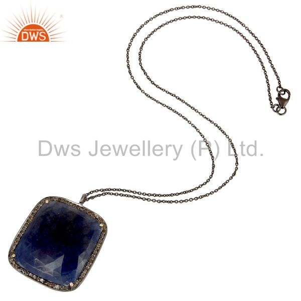 Suppliers 14K Solid Yellow Gold Pave Diamond And Blue Sapphire Pendant With Chain