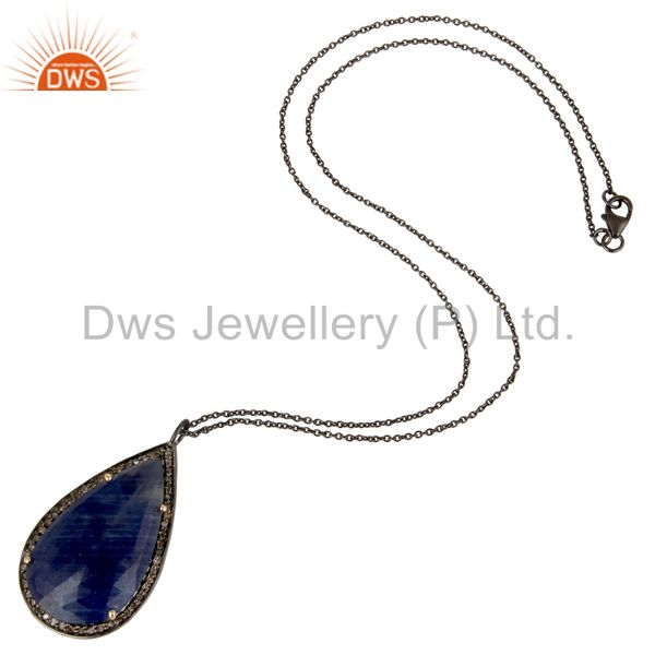 Suppliers Solid 14K Yellow Gold Pave Diamond And Blue Sapphire Drop Pendant With Chain