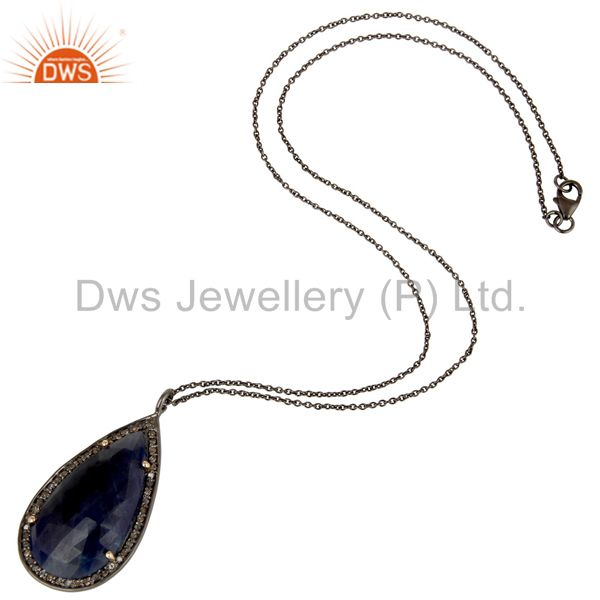 Suppliers 14K Yellow Gold Pave Diamond And Blue Sapphire Drop Pendant With Chain