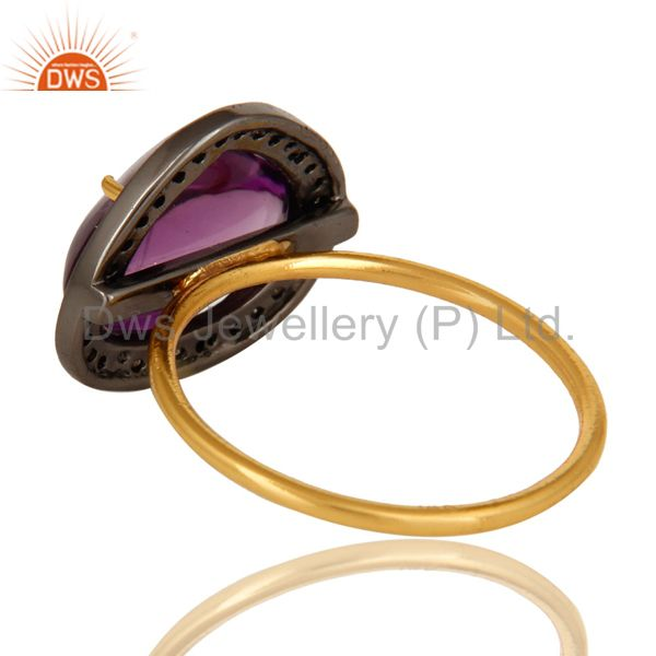 Suppliers 14K Solid Yellow Gold Amethyst And Pave Set Diamond Cocktail Stacking Ring