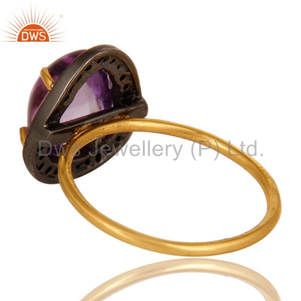 Suppliers Natural Amethyst And Pave Diamond 14K Yellow Gold Stacking Ring
