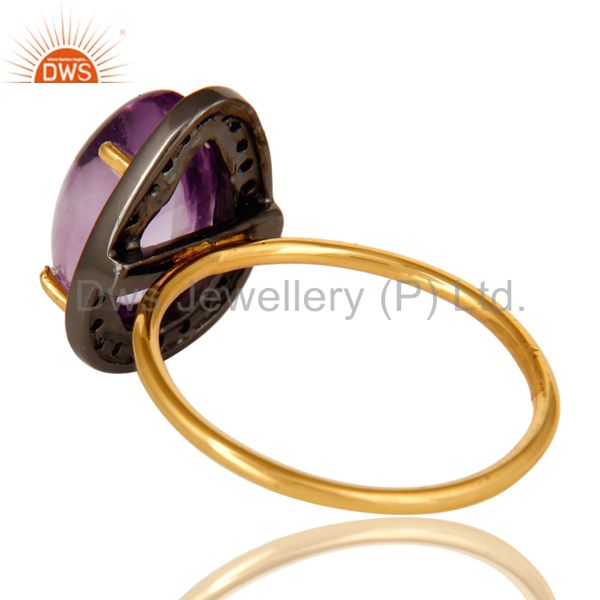 Suppliers Natural Amethyst And Pave Set Diamond 14K Solid Yellow Gold Statement Ring