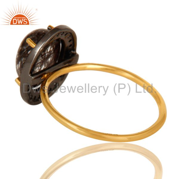 Suppliers 14K Solid Yellow Gold Tourmalated Quartz And Pave Set Diamond Stackable Ring