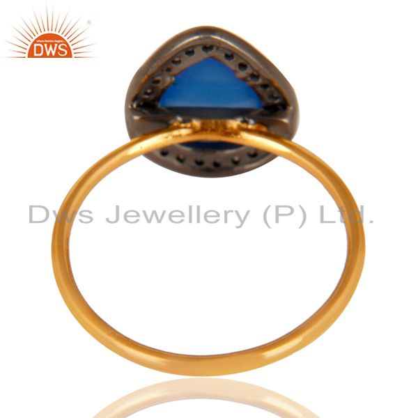 Suppliers 14K Solid Yellow Gold Dyed Chalcedony & Pave Set Diamond Stackable Ring