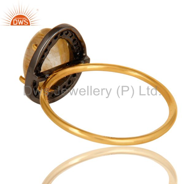 Suppliers 14K Yellow Gold Golden Rutilated Quartz And Pave Diamond Stackable Ring