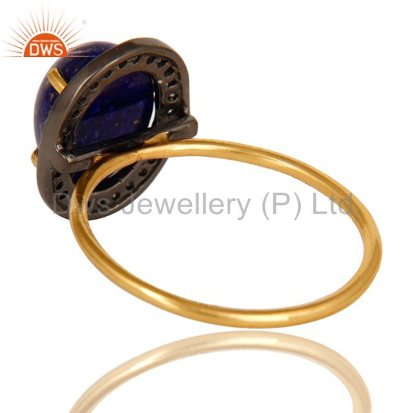 Suppliers 14K Solid Yellow Gold Pave Set Diamond And Lapis Lazuli Gemstone Stackable Ring