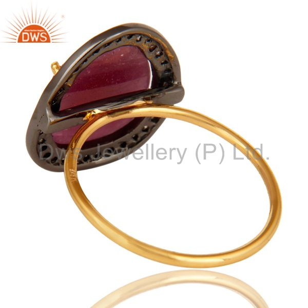 Suppliers 14K Yellow Gold Pave Diamond And Natural Ruby Gemstone Stacking Ring