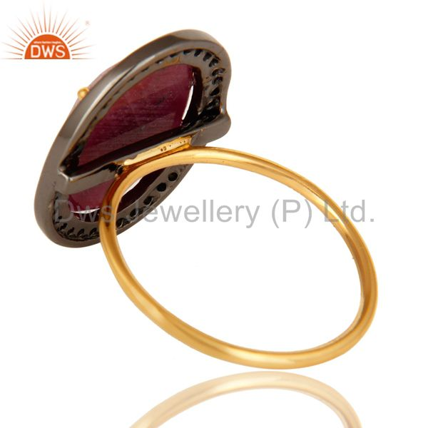 Suppliers Natural Ruby Gemstone Pave Set Diamond 14K Yellow Gold Stackable Ring