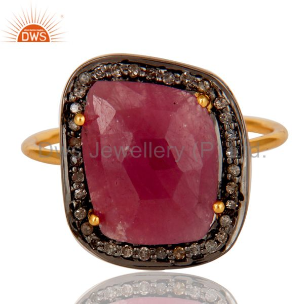 Suppliers Pave Diamond and Natural Ruby Black and Yellow Gold Plated Sterling Silver Ring