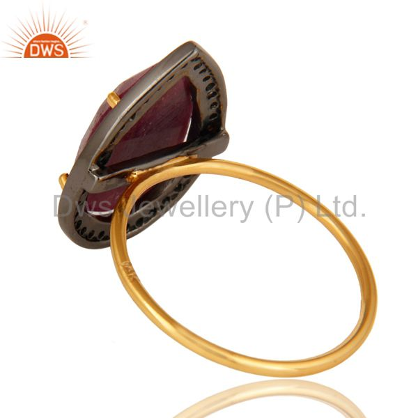 Suppliers Natural Ruby Gemstone And Pave Diamond 14K Yellow Gold Stackable Ring