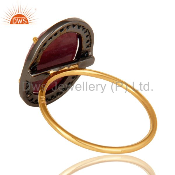 Suppliers Natural Ruby Gemstone And Pave Diamond Stackable Ring In 14K Yellow Gold