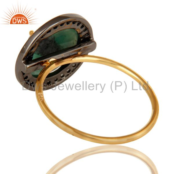 Suppliers 14k Yellow Gold Pave-set Diamond Emerald Stacking Engagement or Cocktail Ring