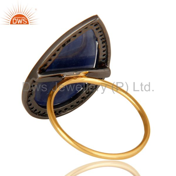 Suppliers Natural Blue Sapphire Gemstone Pave Diamond 14K Yellow Gold Cocktail Ring