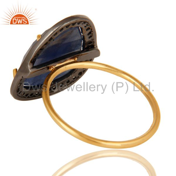 Suppliers Prong Set Blue Sapphire 14K Yellow Gold Gemstone Stackable Ring With Diamond
