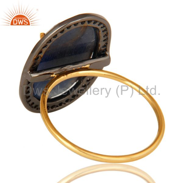 Suppliers 14K Yellow Gold Natural Oval Blue Sapphire Cocktail Engagement Ring With Diamond