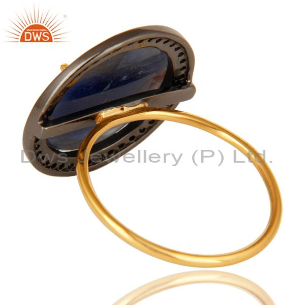 Suppliers Prong Set Blue Sapphire Gemstone Pave Set Diamond 14K Yellow Gold Stackable Ring