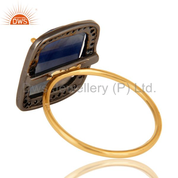 Suppliers 14K Yellow Gold & Sterling Silver Blue Sapphire Pave Set Diamond Stackable Ring