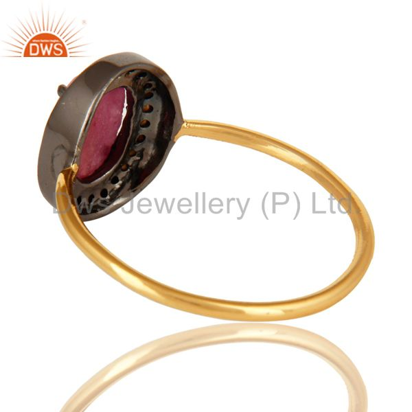 Suppliers 14K Solid Yellow Gold Pave Diamond Natural Ruby Gemstone Engagement Ring