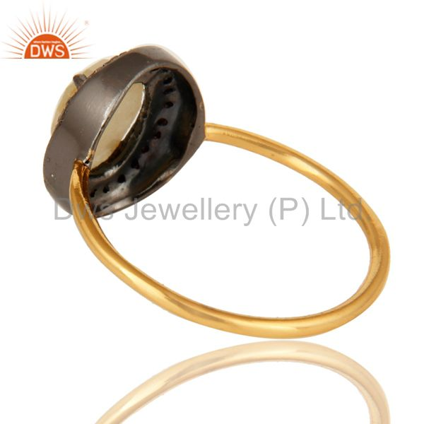 Suppliers 14K Yellow Gold Natural Yellow Sapphire Gemstone Stack Ring With Pave Diamond
