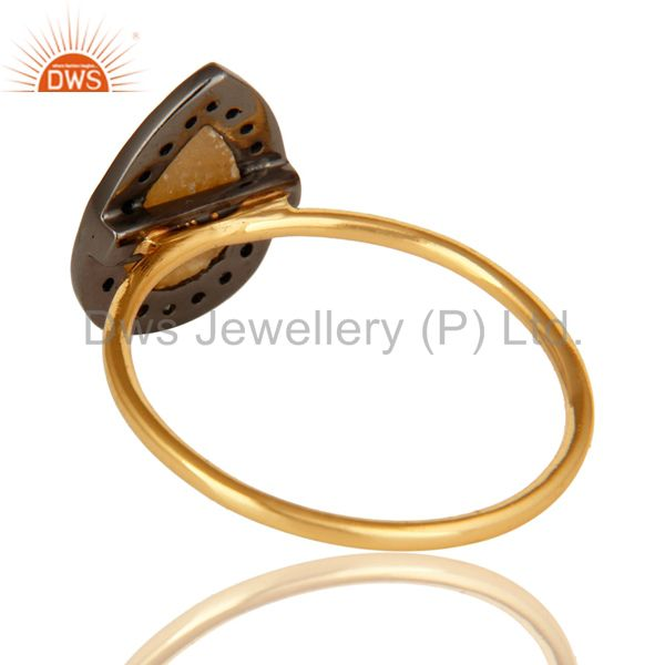 Suppliers Pave Diamond & Yellow Sapphire Gemstone 14K Solid Gold Stacking Engagement Ring