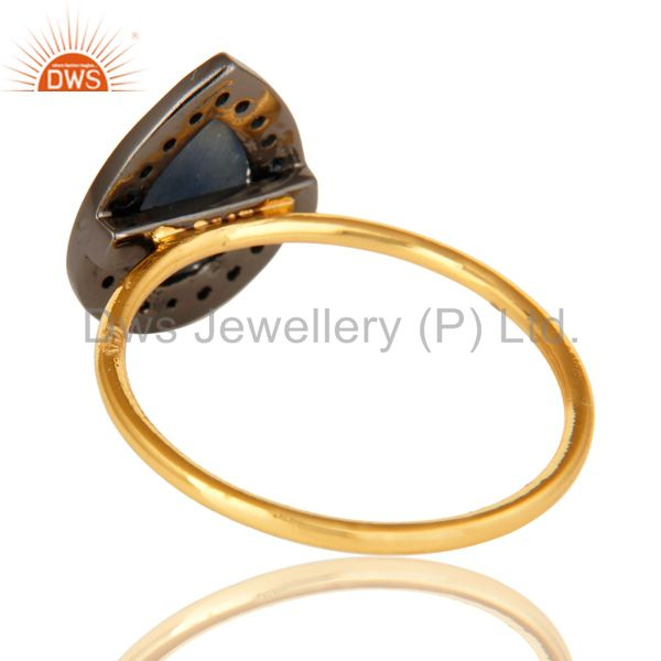Suppliers 14K Solid Yellow Gold Blue Sapphire Pave Diamond Engagement Stacking Ring