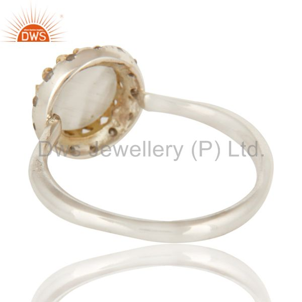 Suppliers 18K Yellow Gold And Sterling Silver Natural Diamond & Moonstone Stack Ring
