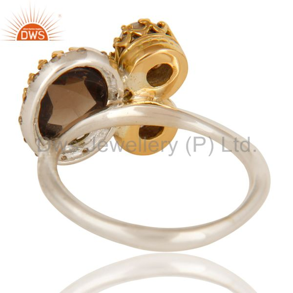 Suppliers Handmade Smoky Quartz 18K Solid Yellow Gold And Sterling Silver Stacking Ring