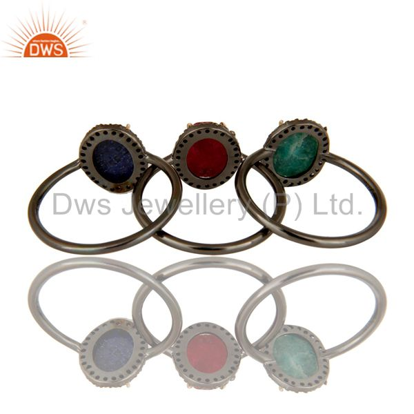 Suppliers 14K Gold Blue Sapphire, Emerald And Ruby Pave Diamond Stacking Ring 3 Pcs Set
