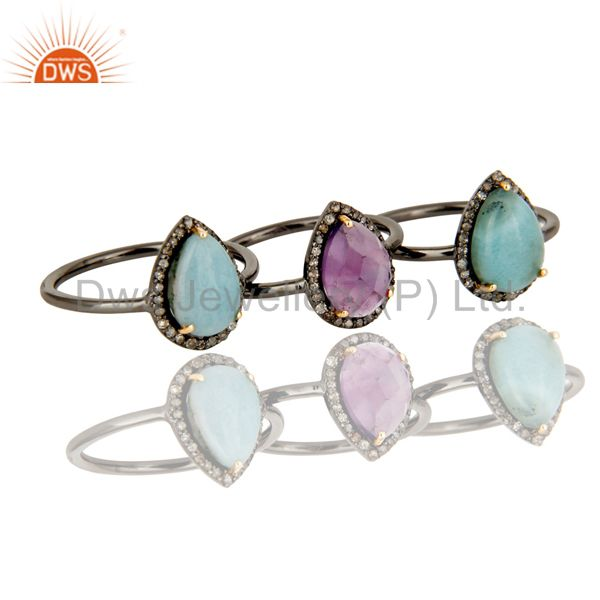 Suppliers Larimar and Amethyst Three Ring Set Made with Diamond and Sterling Silver