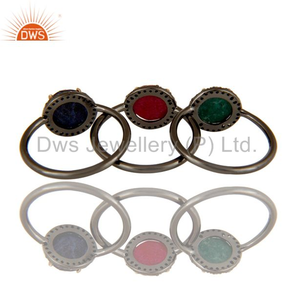 Suppliers Ruby, Emerald And Blue Sapphire Pave Set Diamond Stack Ring Made In 14K Gold