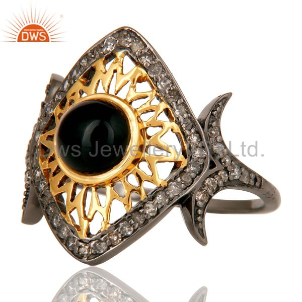 Suppliers Black Onyx and Pave Diamond Ethenic Designer Black Oxidized Sterling Silver Ring