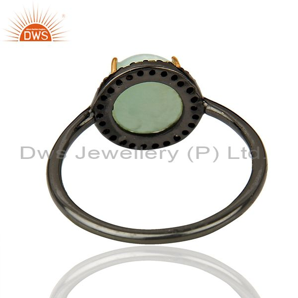 Suppliers 14k Gold Rhodium Plated Silver Larimar Diamond Ring Jewelry Supplier