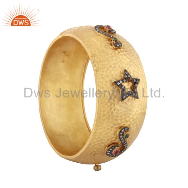 Wholesalers of Matte finish 18kt gold plated hand hammered cubic zirconia bangle