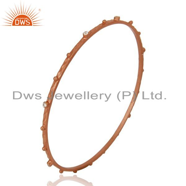 Wholesalers of Simulated diamond sterling silver rose gold plated handmade bangle