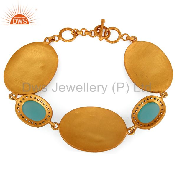 Suppliers 18K Yellow Gold Plated Sterling Silver Aqua Chalcedony Glass Bracelet With CZ