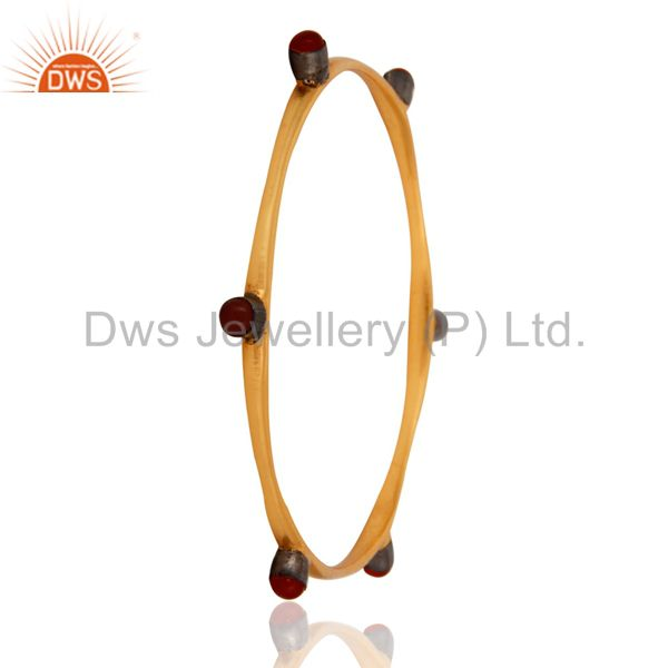 Wholesalers of Handmade 18k gold over 925 silver natural red onyx gemstone bangle
