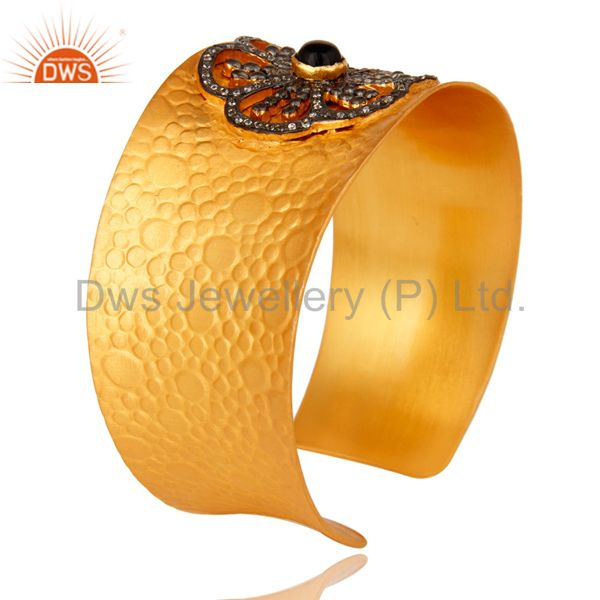 Suppliers Black Onyx And Cubic Zirconia Wide Cuff Bracelet / Bangle In 18K Gold Over Brass