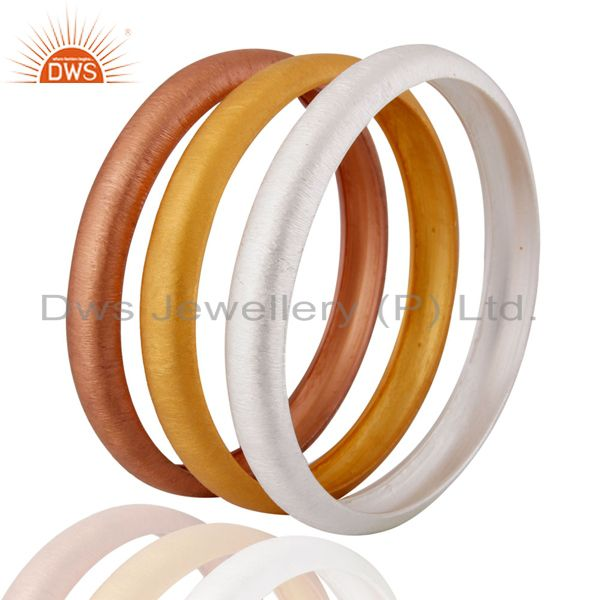 Wholesalers of 925 sterling silver three bangle set jewelry manufacturer supplier